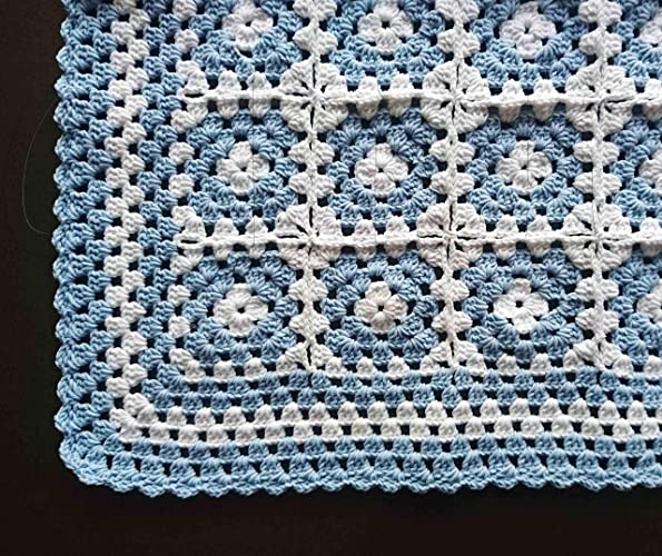 Amazoncom Crochet Light Blue And White Baby Granny Square Blanket
