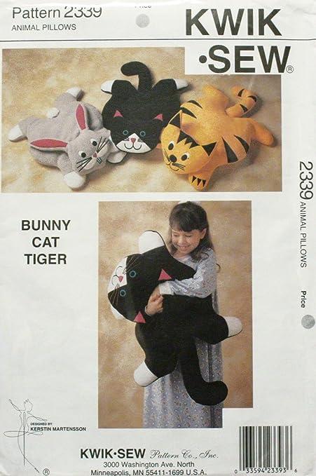 Oop Kwik Sew Sewing Pattern 2339 Animal Pillows Bunny Cat Tiger