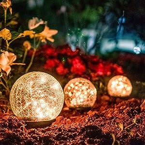VEWOSTAR Garden Glass Ball Solar Light, 5.91Inch Outdoor Decor Waterproof Path Lights for Pathway Patio Yard Lawn