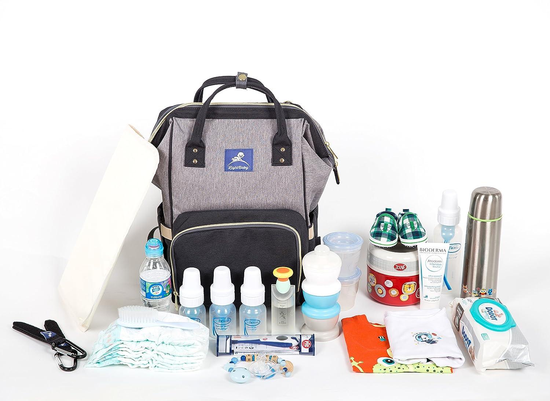 Mochila de Bebé, bolso organizador de Pañales y Biberones, impermeable y gran capacidad LightBaby. Bolsa Multifuncional de Viaje.