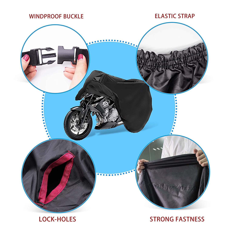 Lona Impermeable para Motocicleta con Oxford Harley-Davidson cm Suzuki AUQUSH 210D-XL 245105125 Resistente y Resistente para Motocicletas de 105 Pulgadas como Honda Yamaha Kawasaki