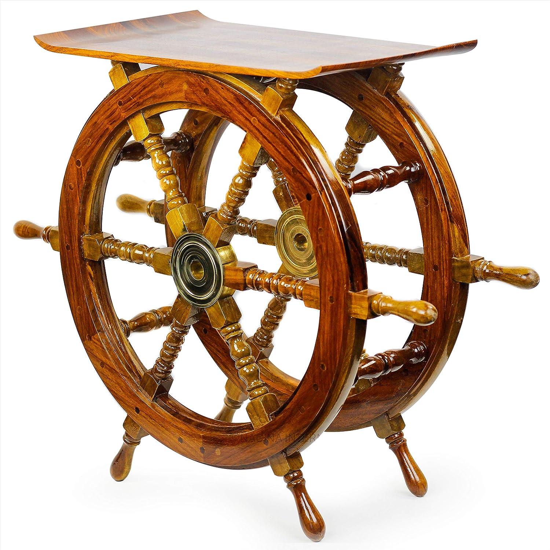 Wooden Hand Crafted Ship Wheel Table - Nagina International - Home Decor - Nagina International (24 Inches)