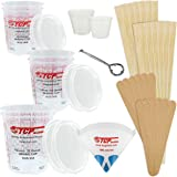 """TCP GLOBAL Premium Paint Mixing Essentials Kit. Comes with 12 Mixing Cups, 6 Lids, 12 Wooden 12"""" Mixing Sticks, 12 Wooden Min"""