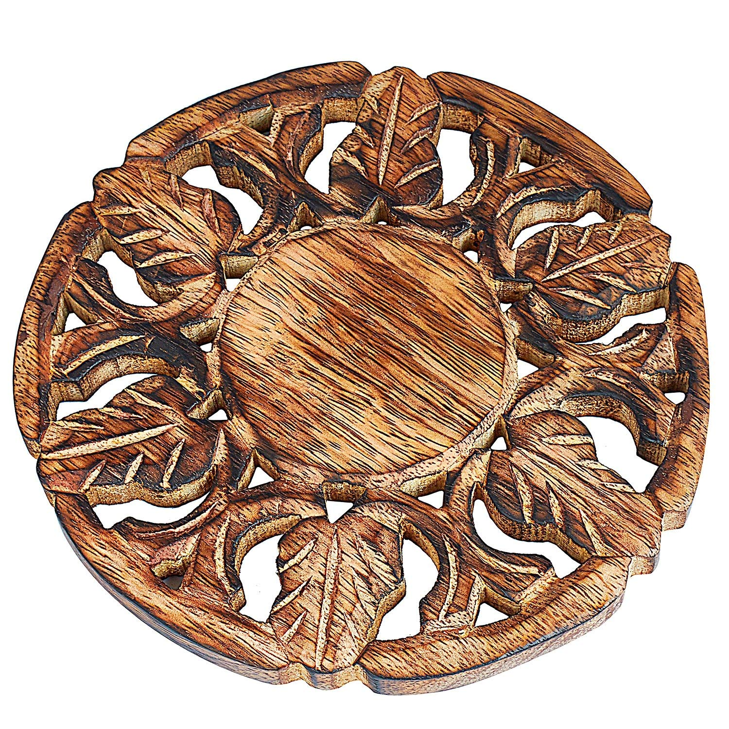 Handmade Wooden Trivet For Hot Dishes Plates /& Pots Holder Hot Pad For Kitchen /& Dining Table Decor Cookware Heat Resistant Rustic Decorative Carvings 6 Inches Tabletop Home /& Dining Table Essentials