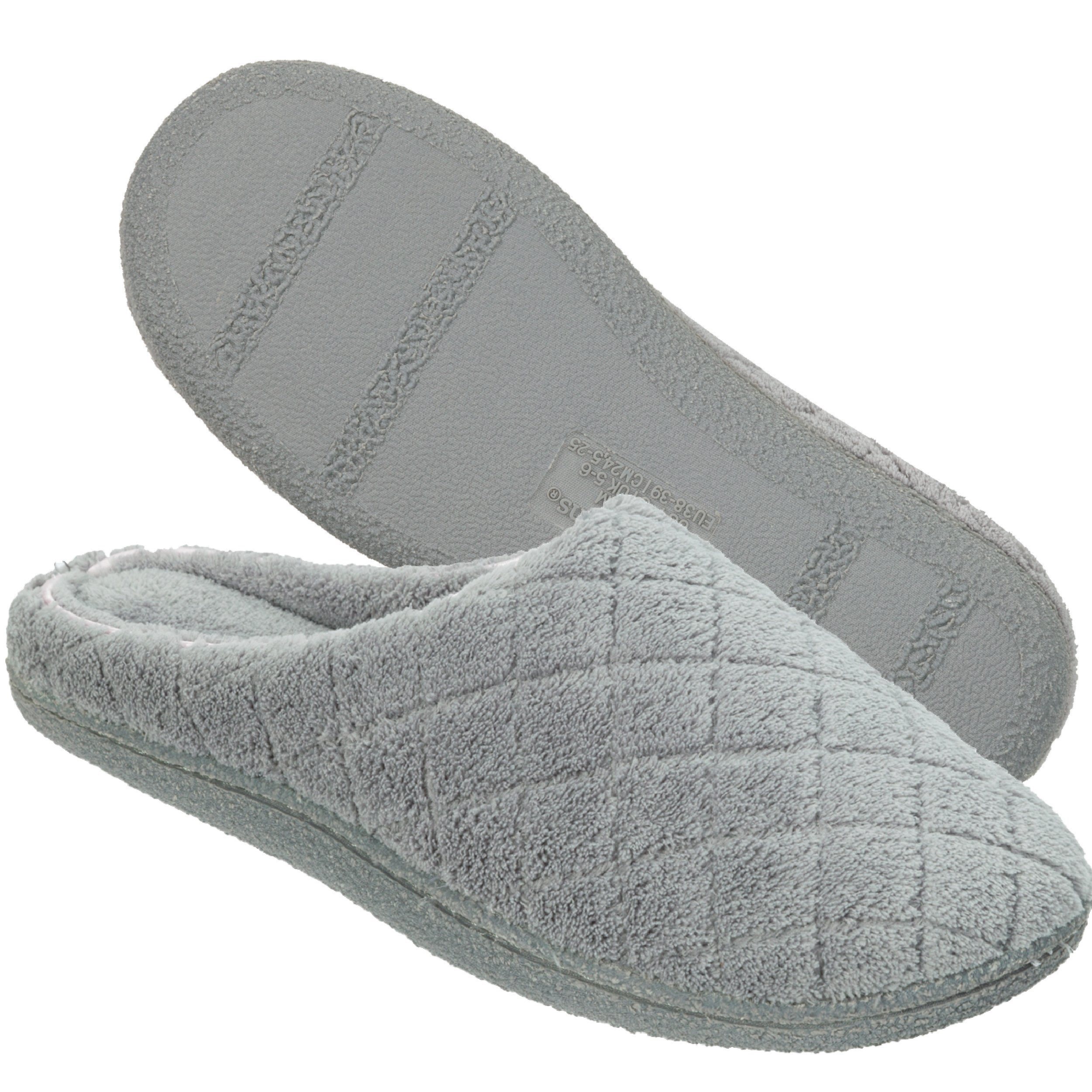 Dearfoams Women's Quilted Terry Clog Mule Slipper – Padded Terrycloth Slip-ONS with Skid-Resistant Rubber Outsole, Medium Grey, Medium/7-8 M US