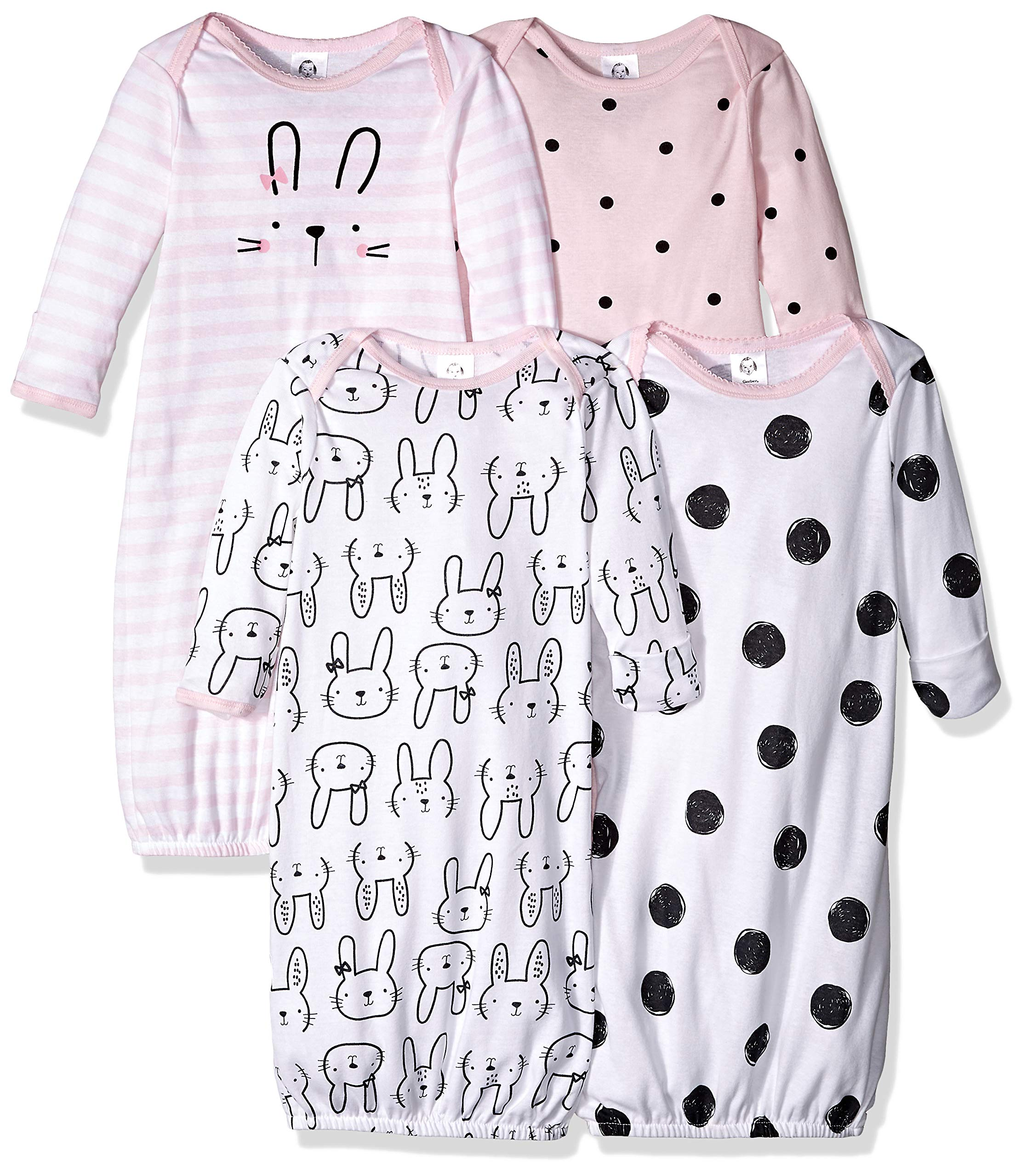 Gerber Baby Girls' 4-Pack Gown, Bunny, 0-6 Months by Gerber