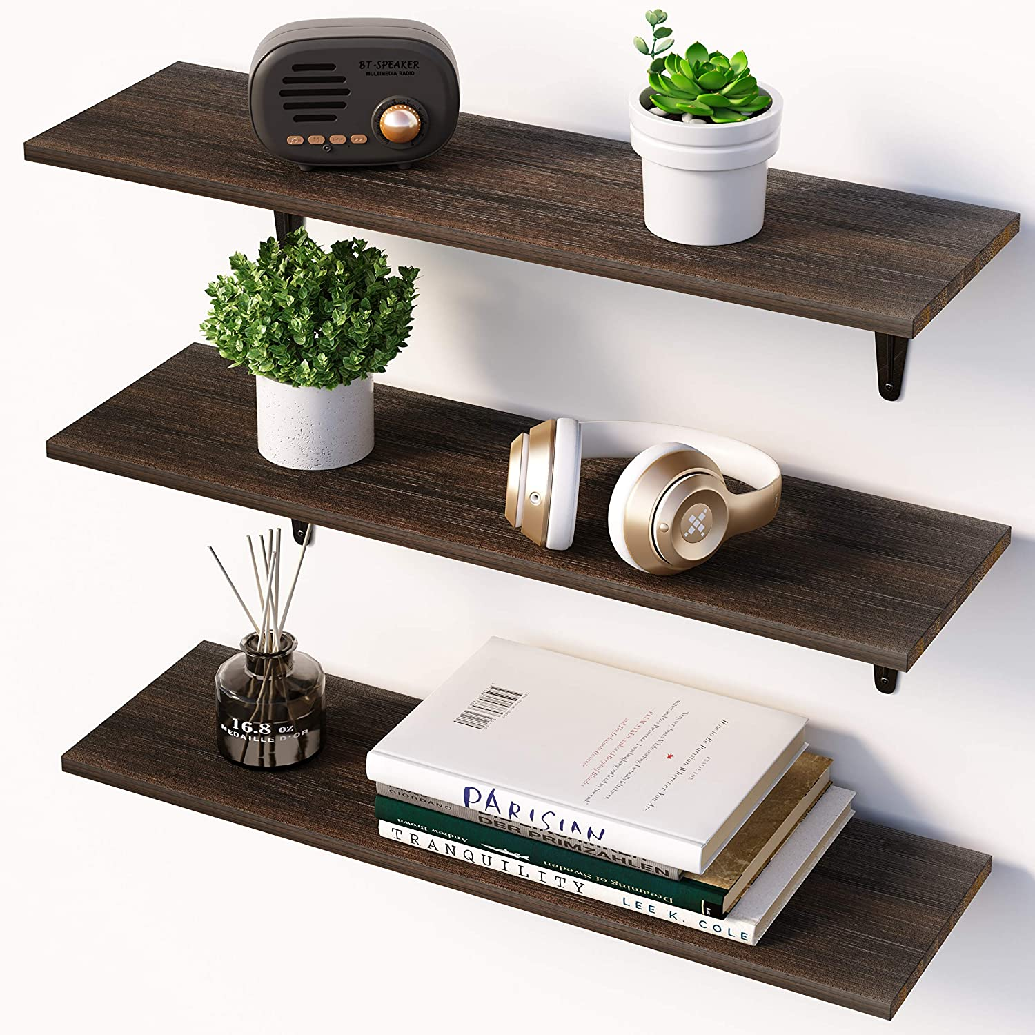 Amazon.com: BAMFOX Floating Shelves,Wall Shelf Set of 3,Wall Mounted  Floating Shelf with Large Storage for Bedroom Bathroom Living Room Kitchen  Office: Kitchen & Dining