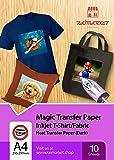 Iron on Transfer Paper for Dark Fabric (T-Shirt Transfer Paper) by Raimarket | 10 Sheets | A4 Inkjet Iron On Transfer Paper | DIY Fabric Printing, Unleash Your Creativity (D10)