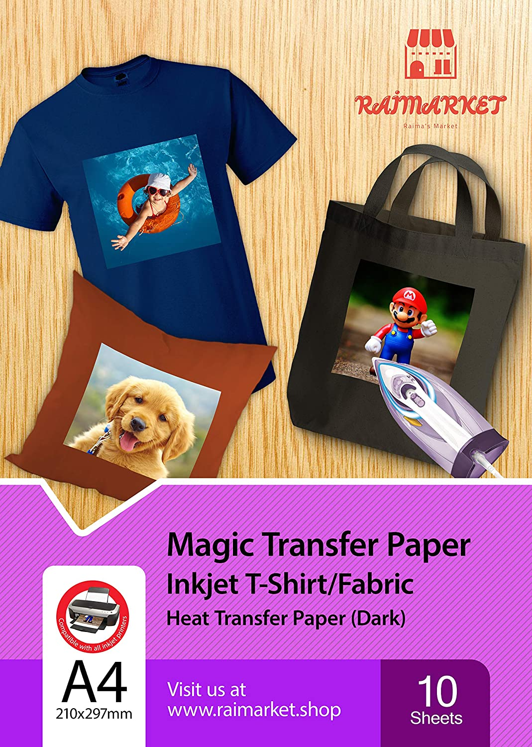 photo relating to Printable Iron on Sheets titled Iron upon Go Paper for Dim Cloth (Magic Paper) via Raimarket 10 Sheets A4 Inkjet Iron Upon Paper/T Blouse Transfers Do-it-yourself Material Printing,