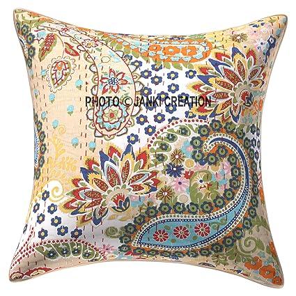 Amazon.com: Kantha Indian Handmade Cushion Cover Size 16X16 ...