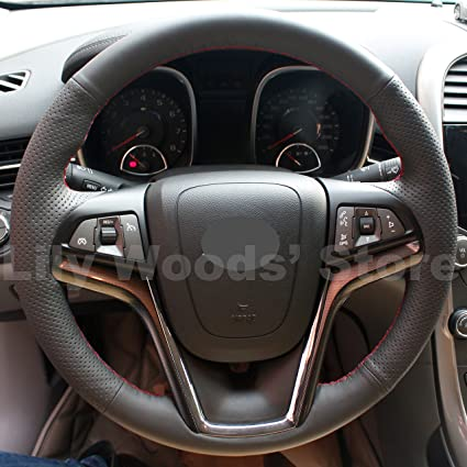 Hand Sewing Genuine Leather Steering Wheel Cover For 2013 2014 2015 Chevrolet Malibu 2012 2013 2014 2015 Chevrolet Camaro 2011 2012 2013 2014 2015