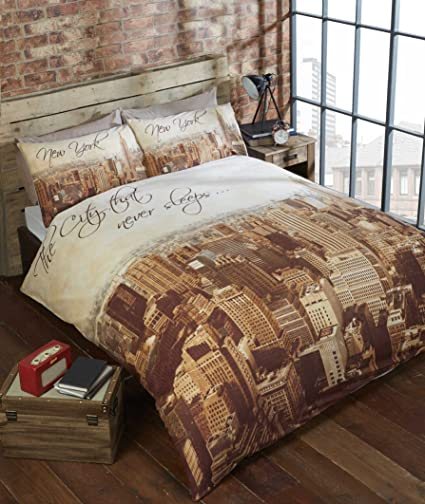 558661c6ff0 URBAN UNIQUE City York Double Quilt Duvet Cover & 2 Pillowcase Bed Set  Photographic Skyline New, Polyester-Cotton Beige: Amazon.co.uk: Kitchen &  Home