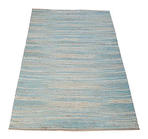 Chardin home Carmel Jute and soft cotton chenille Rug, Natural Jute Aqua, Size-3 x5