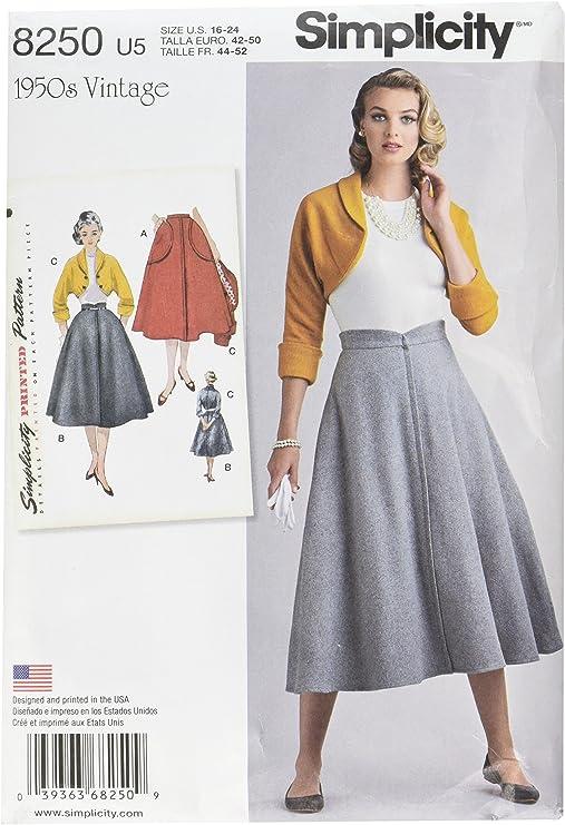 Simplicity Pattern 8250 U5 de Costura para Vintage 1950 de la ...
