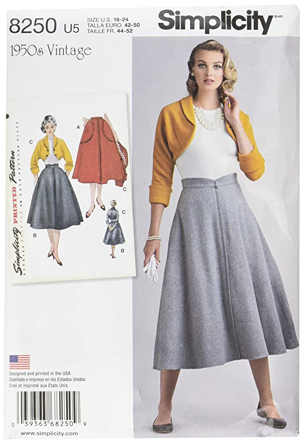 1950s Sewing Patterns | Dresses, Skirts, Tops, Mens Simplicity Vintage Sewing Template 8250 1950s Skirt and Bolero Sewing Pattern 3 Pieces Sizes 16-24 $10.55 AT vintagedancer.com