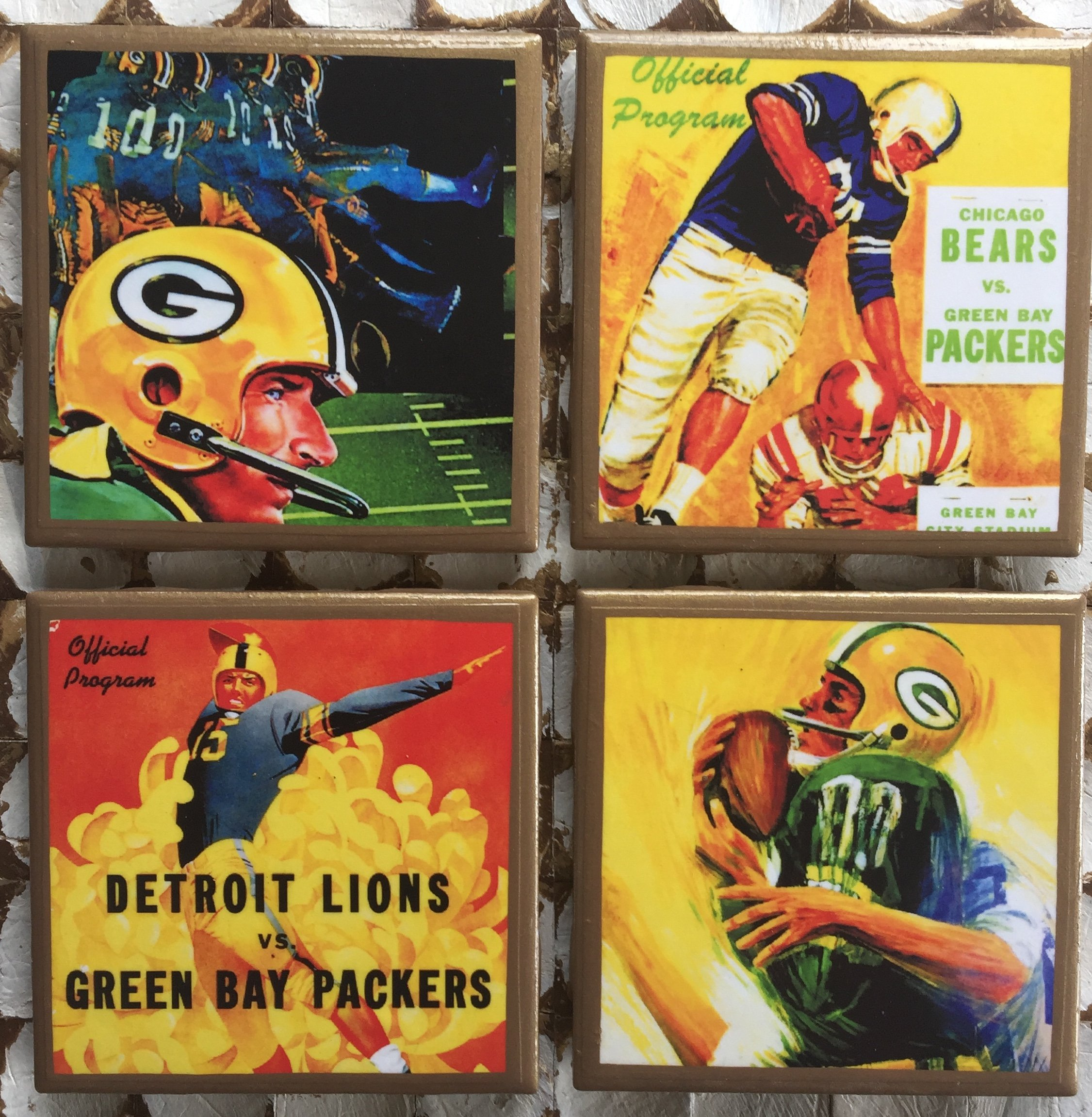 Green Bay vintage program cover coasters with gold trim by CraftsandtheCity