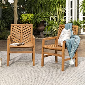 Walker Edison Furniture Company 2 Piece Outdoor Patio Chevron Wood Chair Set All Weather Backyard Conversation Garden Poolside Balcony, Set of 2, Brown