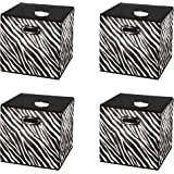 Attirant Prorighty [4 Pack, Zebra Pattern Storage Bins, Containers, Boxes, Tote