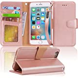 Arae Case for iPhone 6s / iPhone 6, Premium PU Leather Wallet case [Wrist Strap] Flip Folio [Kickstand Feature] with ID…
