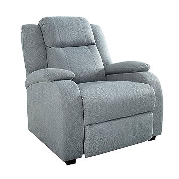 Relaxsessel mit liegefunktion modern  Relaxsessel HOLLYWOOD hellgrau Stoff verstellbar Liegesessel ...