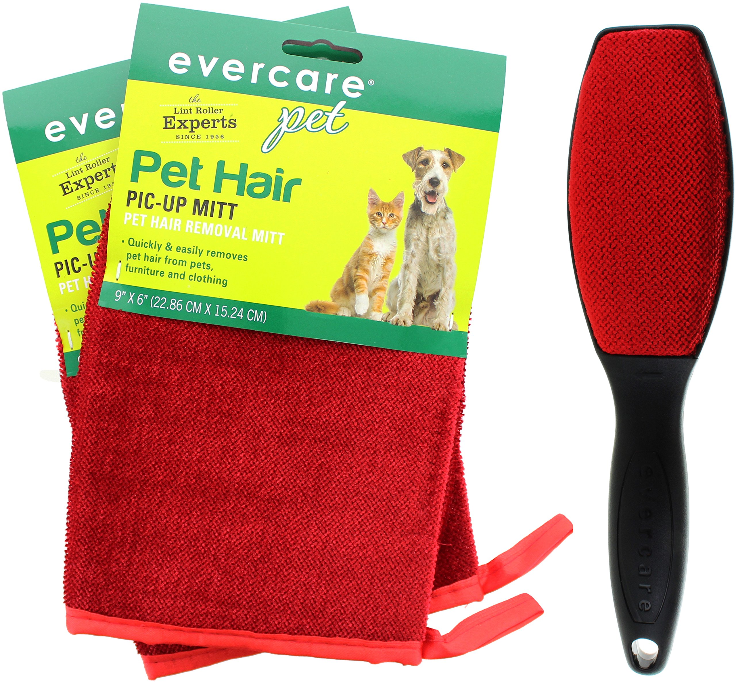Evercare Pet Hair Remover Glove Pic-Up Mitt (2) and Magic Lint Brush (1) for Pets Clothes Furniture and Travel by Evercare (Image #1)