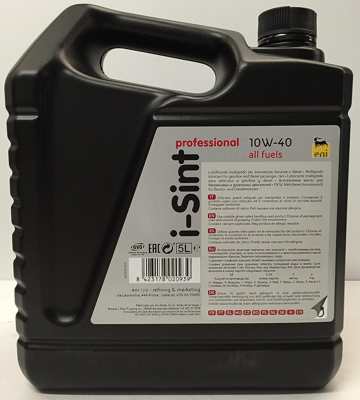 Aceite lubricante coche Eni - Agip i-Sint Professional 10w40 5Ltrs: Amazon.es: Coche y moto