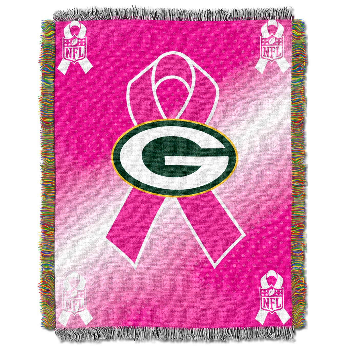 NFL Green Bay Packers Breast Cancer Awareness Woven Tapestry Throw 48 x 60