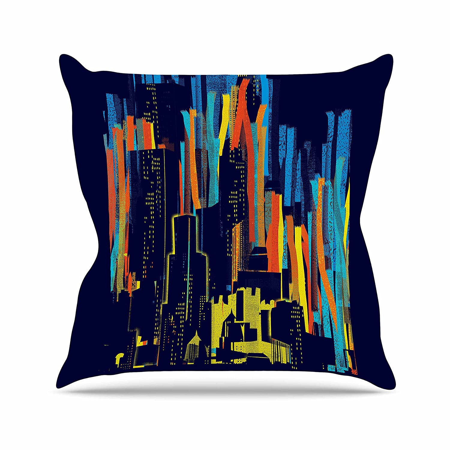 16 by 16 Kess InHouse Frederic Levy-Hadida Strippy City Blue Multicolor Throw Pillow