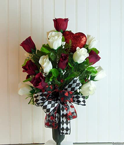 Black Memorial Spike Vase for Cemetery with Artificial Rose /& Lily Flowers Red