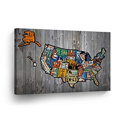 United States Map Decor.Amazon Com United States Map License Plate Map Canvas Print States