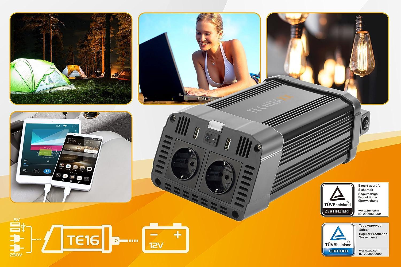 Technaxx 4753/Convertisseur continu-Alternatif 1200/W TE16/certifi/ée T/ÜV Convertisseur dalimentation Convertisseur Noir