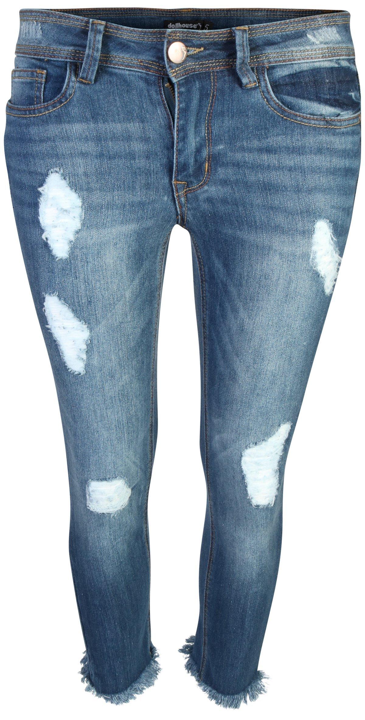 dollhouse Women's Distressed Stretch Frayed Hem Skinny Capri Jeans, Medium, Size 16'