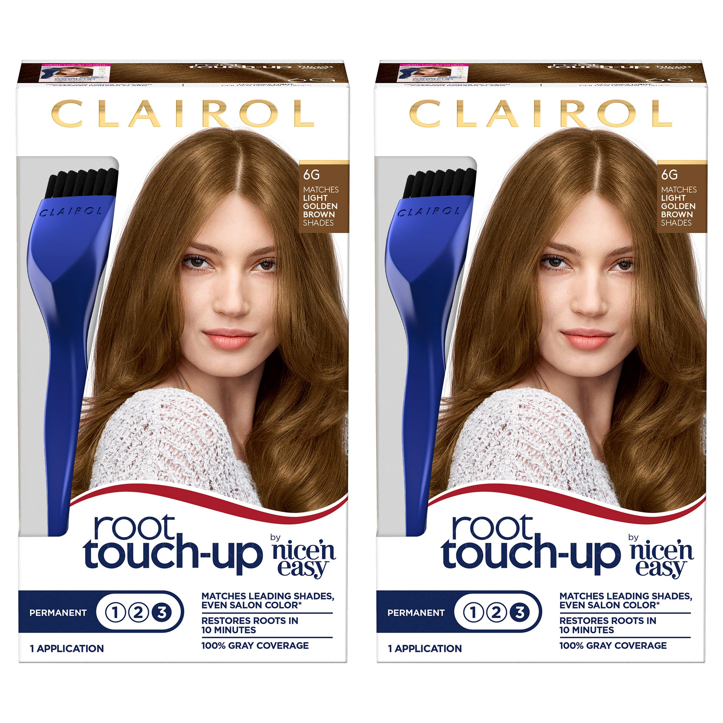 Clairol Root Touch-Up Permanent Hair Color Creme, 6G Light Golden Brown, 2 Count