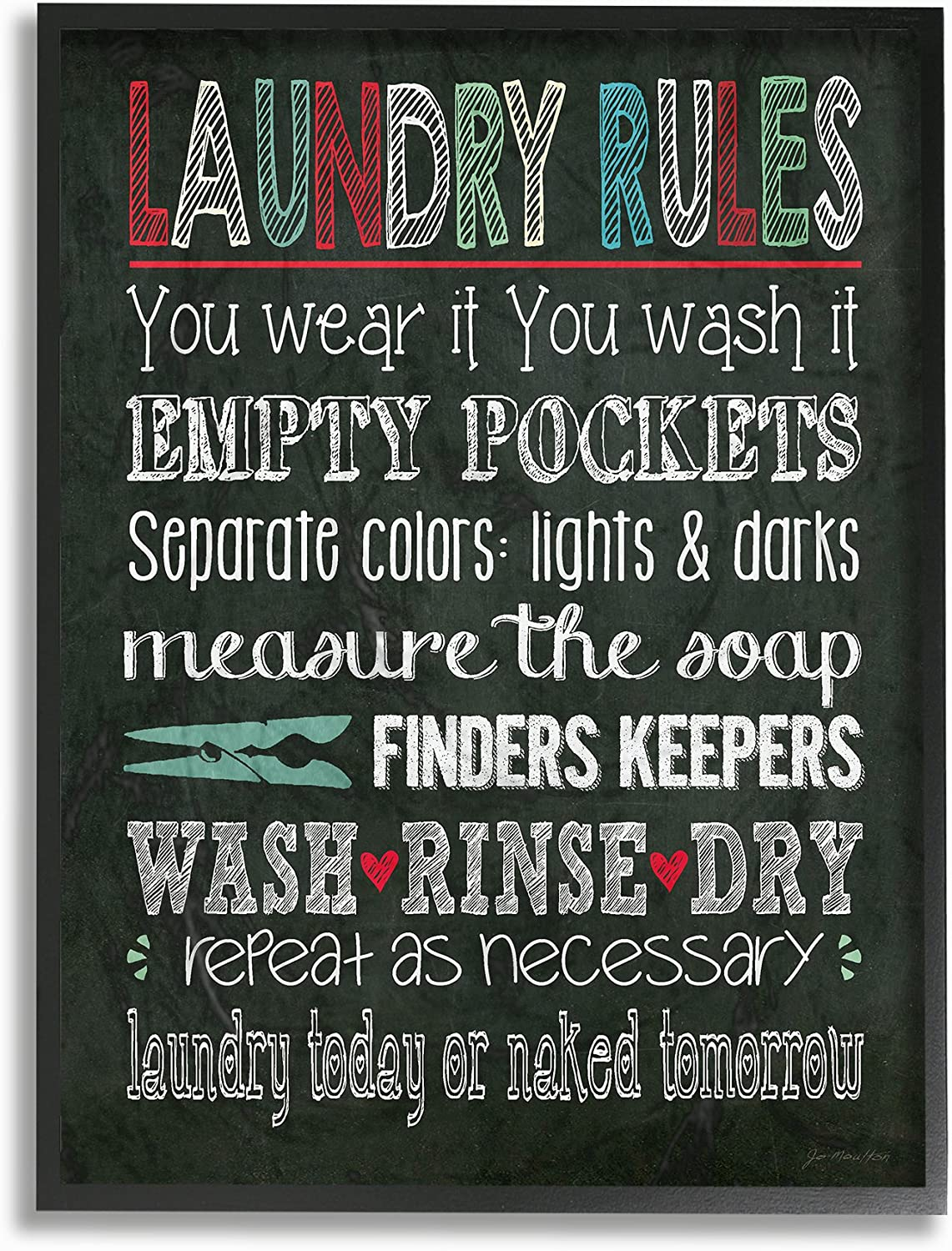 """The Stupell Home Decor Collection Laundry Rules Typography Chalkboard Bathroom 16"""" x 20"""" Framed Giclee"""