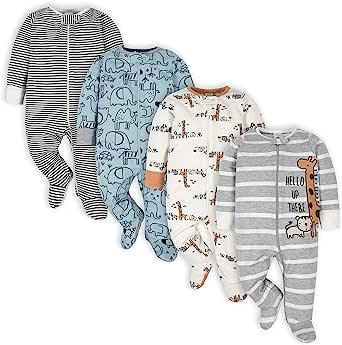 Gerber Baby Boys' 4 Pack Sleep N' Play Footie