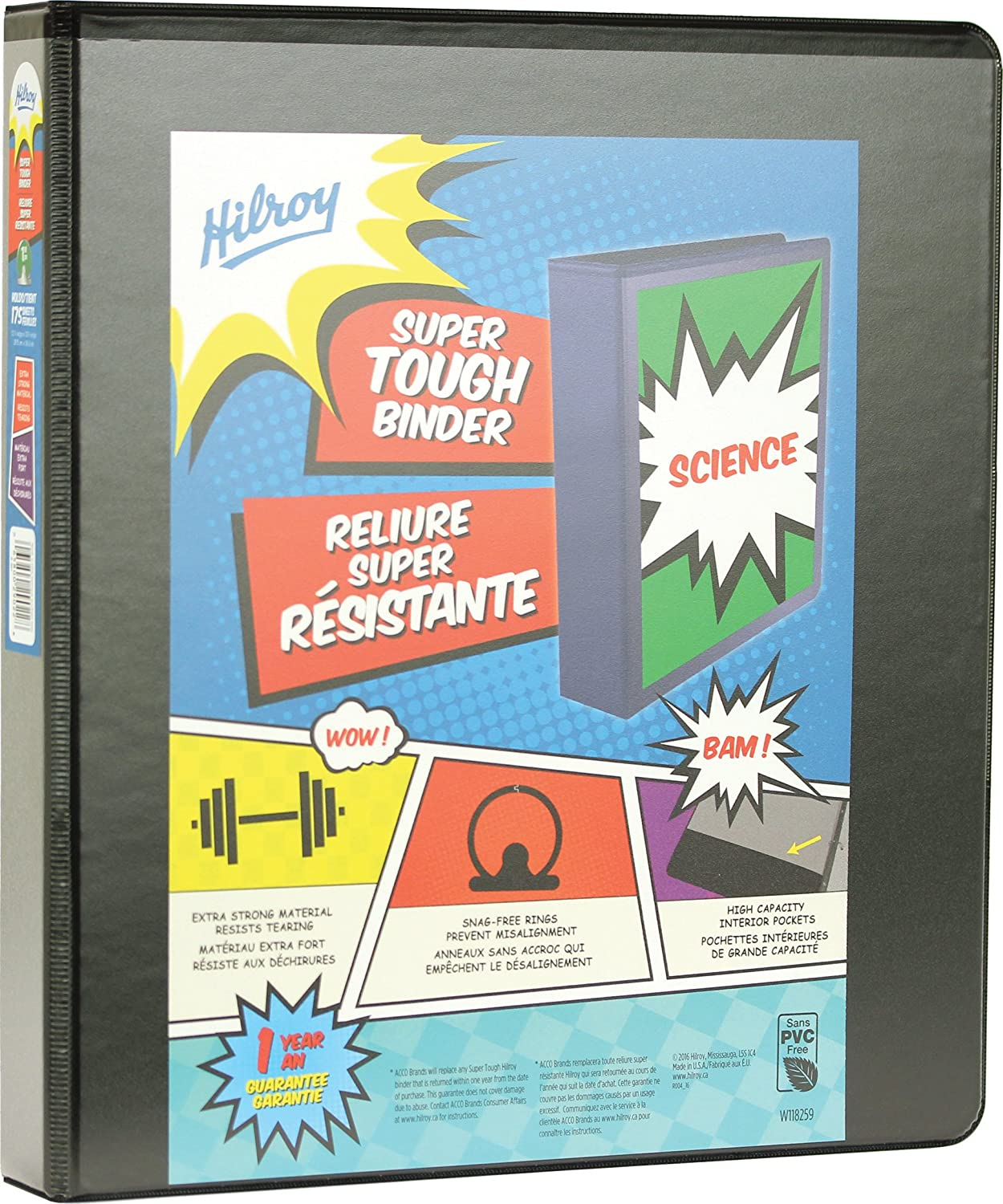 Hilroy Super Tough 2 Inch Binder, Size 2-9/10 x 11-1/5 x 11-7/10 Inches, Black (89541)