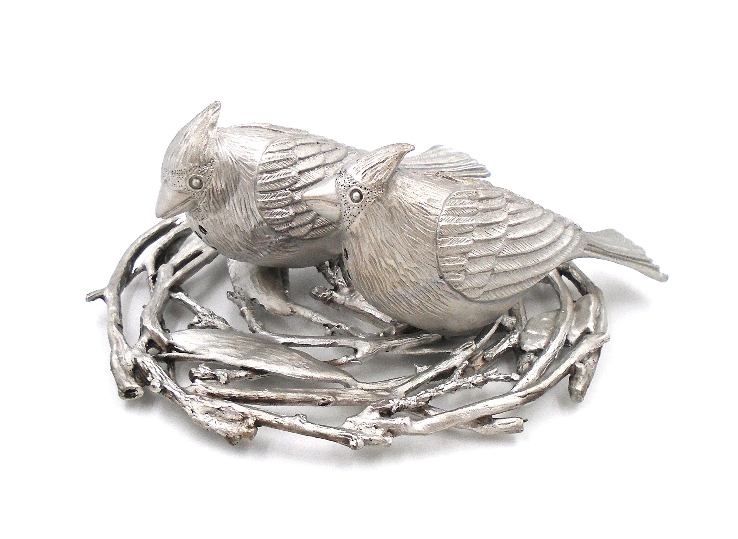 ''Cardinal Birds with Nest'' Salt & Pepper Shakers by Michael Michaud for Silver Seasons Table Art