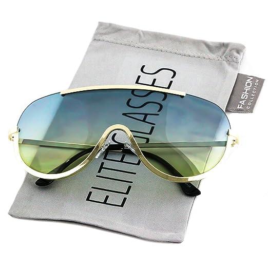 d9dade5fb0 Amazon.com  Elite OVERSIZED XX Large SHIELD Half Face Large Size Black Gold  Sun Glasses (Blue   Yellow