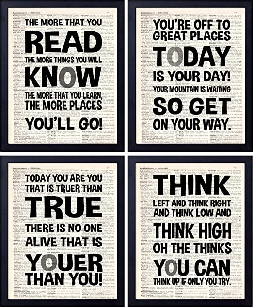 Dr Seuss quote dictionary page art print reading books literary motivation