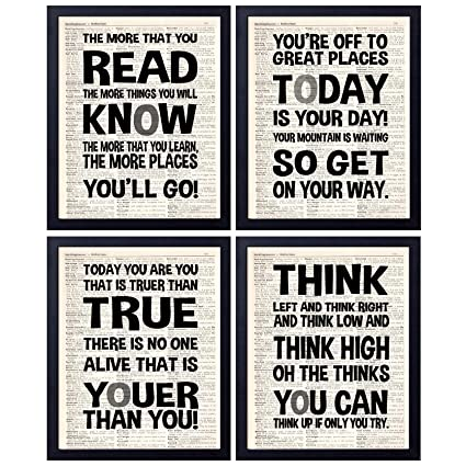 Amazoncom Akeke Dr Seuss Quotes And Saying Vintage Book Wall Art
