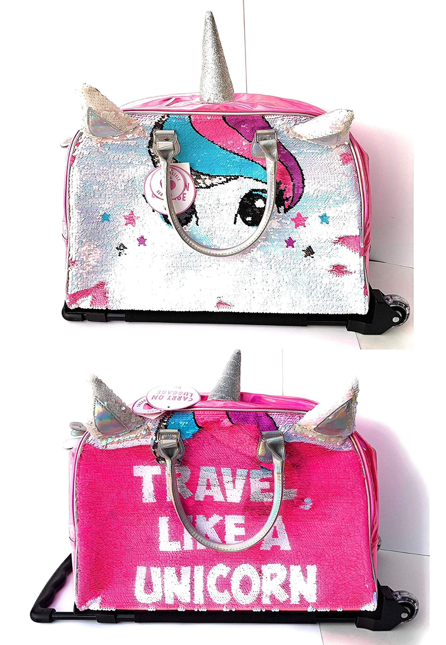 Justice Girls Exclusive Pink Reversible Seqiun Unicorn Carry On Luggage Suitcase Travel Bag by Justice (Image #1)