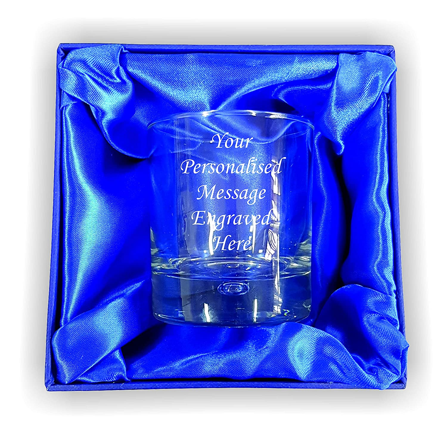 (Custom) Personalised Engraved 305ml Bubble Base Whisky Tumbler in Silk Lined Gift Box Lapal Dimension