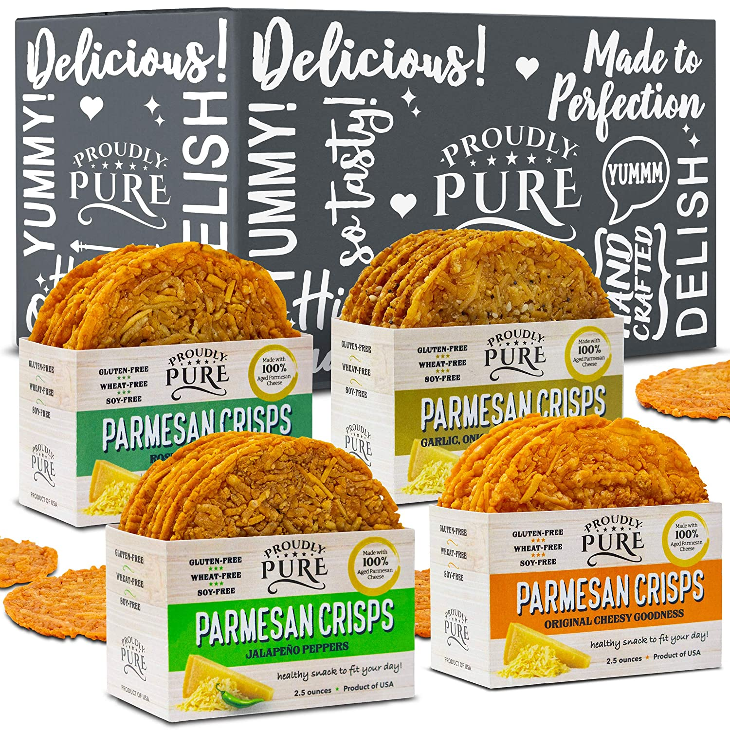 Proudly Pure Parmesan Cheese Crisps - Keto Snacks Zero Carb Crunchy Delicious Healthy 100% Natural Aged Cheesy Parm Chips Wheat, Soy & Gluten Free Keto Crackers Low Carb Snacks | Variety 4 PACK