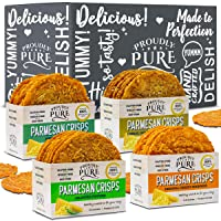 Proudly Pure Parmesan Cheese Crisps - Keto Snacks Zero Carb Crunchy Delicious Healthy 100% Natural Aged Cheesy Parm Chips Wheat, Soy & Gluten Free Keto Crackers Low Carb Snacks   Variety 4 PACK