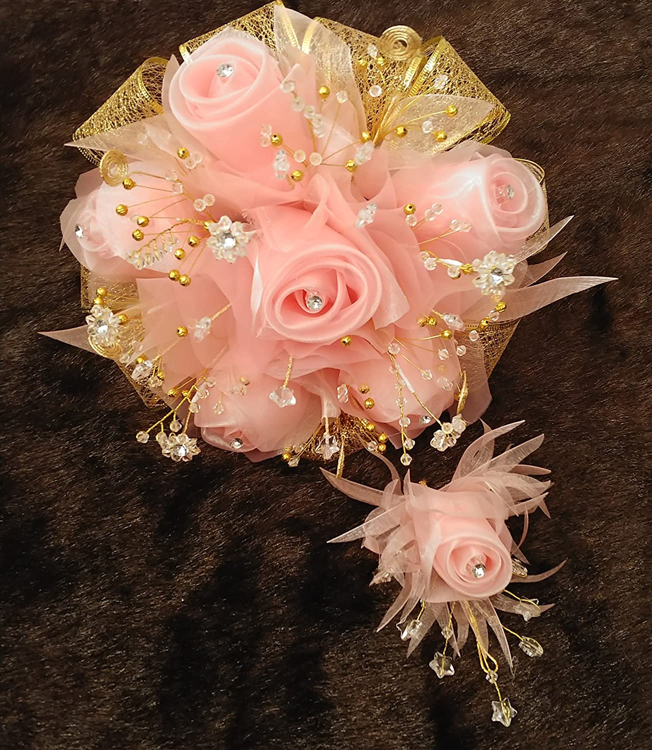 Amazon Beautiful 15th Quinceaera Blush And Gold Flower Bouquet