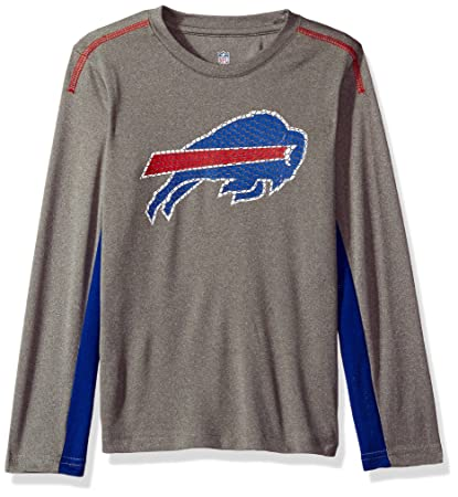 Outerstuff NFL Boys 4-7 quot Mainframe Long Sleeve Performance Tee-Light  Charcoal- ae0a8101e
