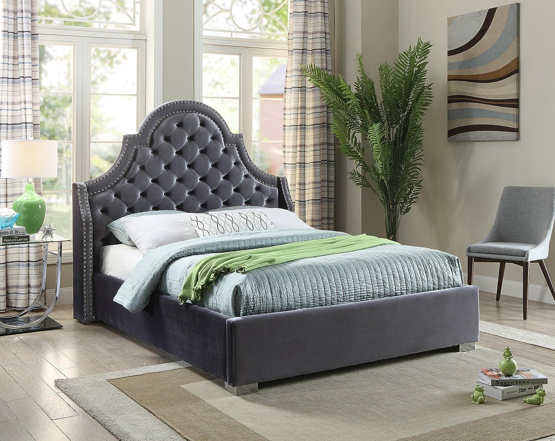 Amazon Com Meridian Furniture Madisongrey Q Madison Velvet