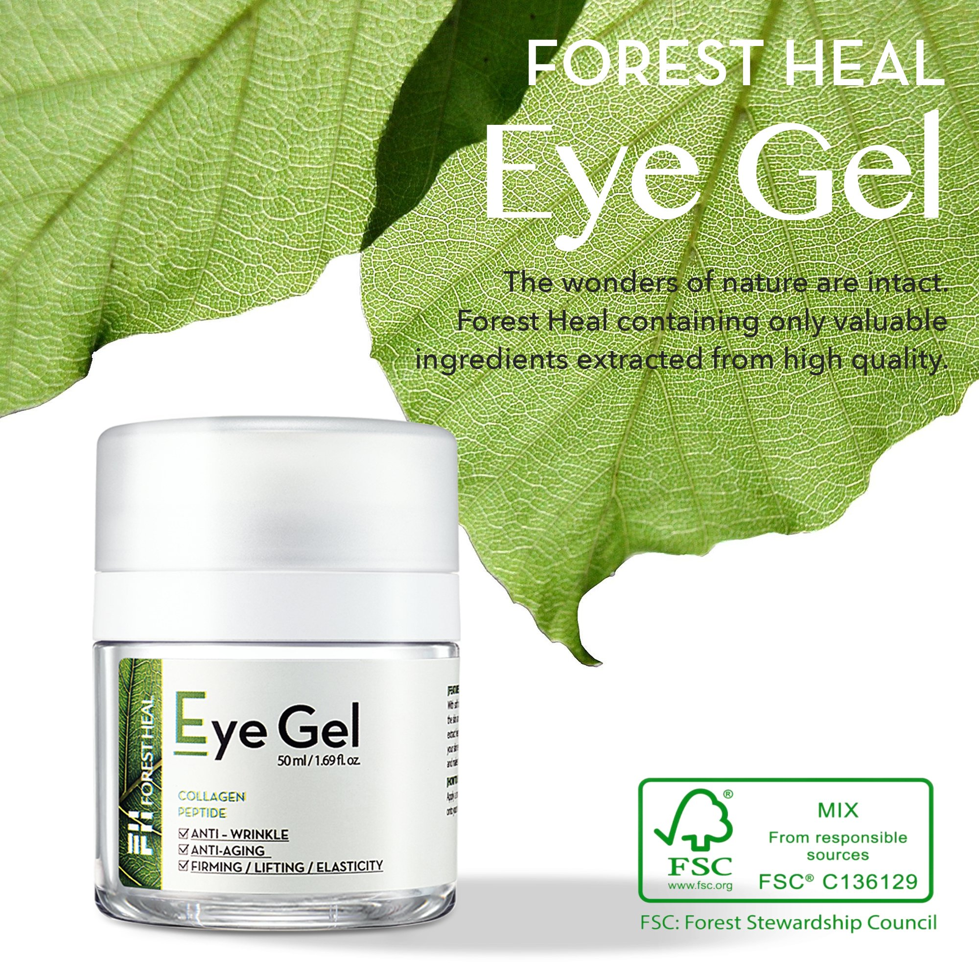 Forest Heal Eye Gel With Collagen Peptides and Niacinamide - Natural Anti Aging, Anti Wrinkle Moisturizer For Under and Around Eyes - 1.69 fl.oz. by Forest Heal (Image #6)