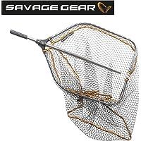 Savage Gear Pro Folding Rubber Large Mesh Landing Net L (65x50cm) Kescher, Angelkescher, Fischkescher, Unterfangkescher, Raubfischkescher, Hechtkescher