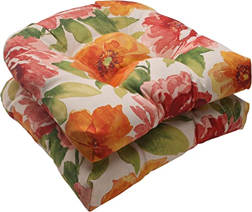 Pillow Perfect Outdoor Indoor Muree Primrose Tufted Seat Cushions Round Back , 19 x 19 , Orange, 2 Pack